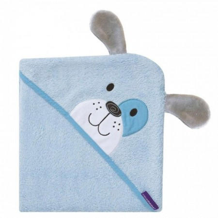 Prosop de baie pentru bebelus si mama Bamboo Puppy blue Clevamama