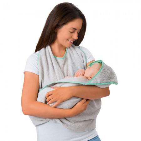 Prosop de baie pentru bebelus si mama grey Clevamama