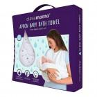 Prosop de baie pentru bebelus si mama white Clevamama