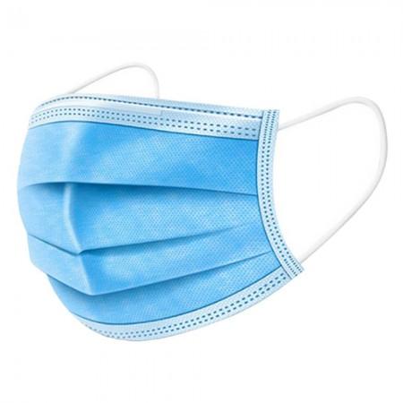 Set de 10 buc masca de unica folosinta cu 3 pliuri si 3 straturi Albastru