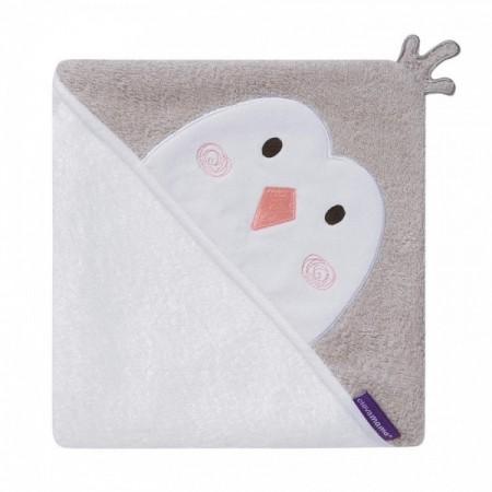 Prosop de baie pentru bebelus si mama Bamboo Penguin white Clevamama