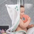 Prosop de baie pentru bebelus si mama Bamboo Frog grey Clevamama