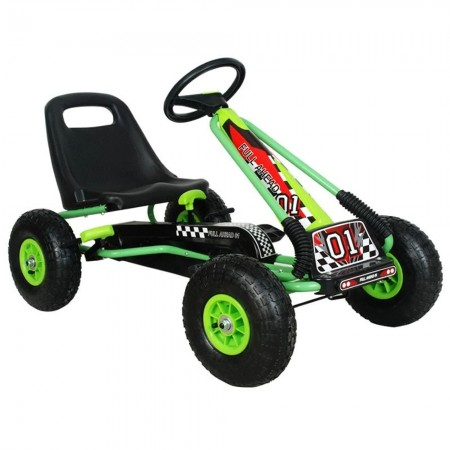 Kart M-Toys cu pedale si volan, Verde