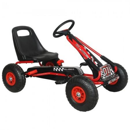 Kart M-Toys cu pedale si volan, Rosu