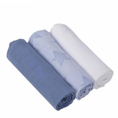 Set 3 paturici de muselina albastru Clevamama 3540
